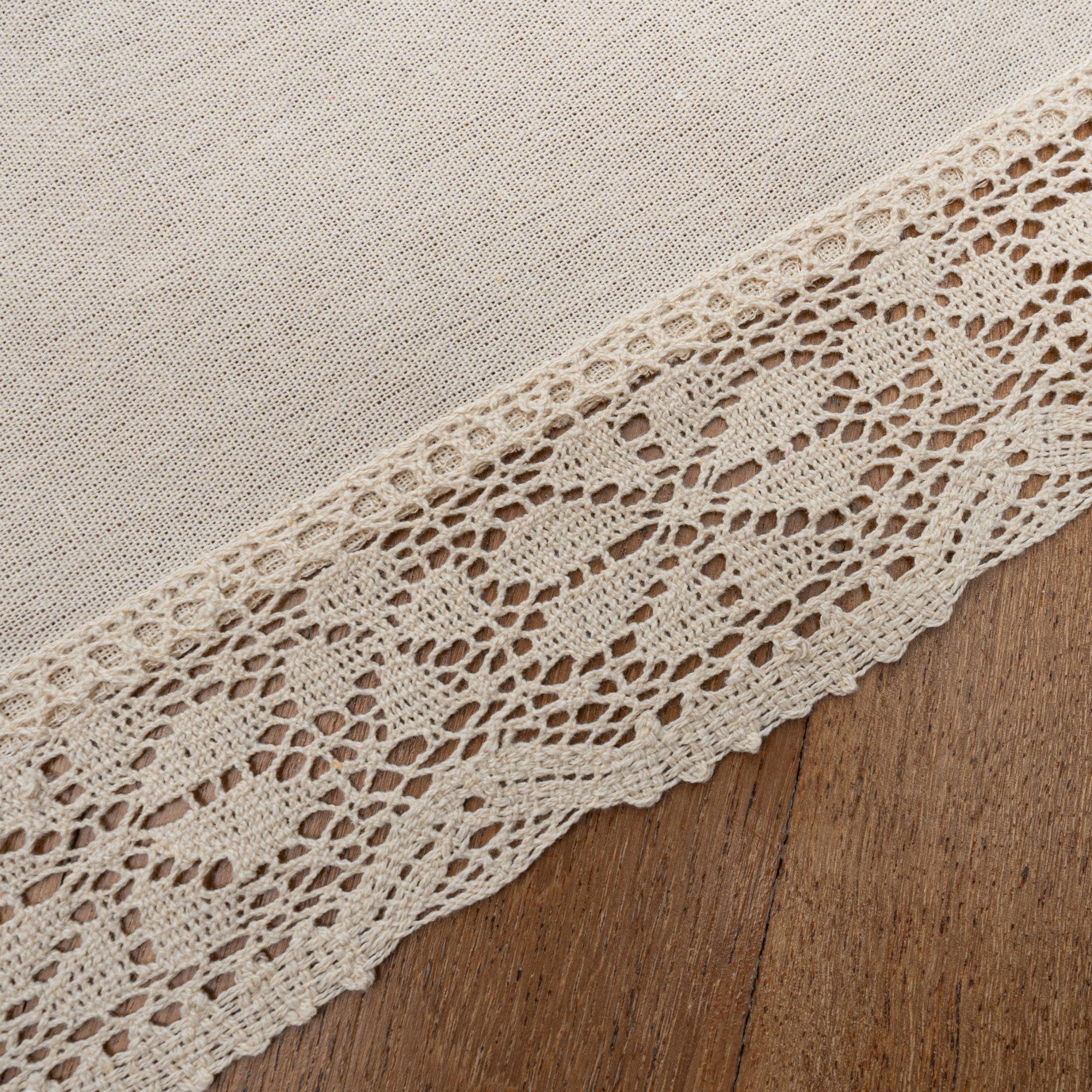 """Nostalgic Ecru Rectangle Placemats/Table Mats With 6cm Cotton Crochet Lace Edges. Polycotton 30x45cm/12x18""""(Ecru)"""