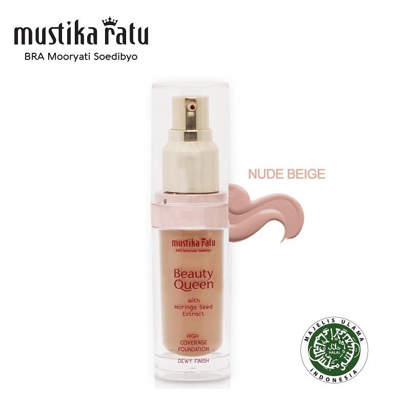 Mustika Ratu Beauty Queen High Coverage Foundation Dewy Finish - Nude Beige (35ml)