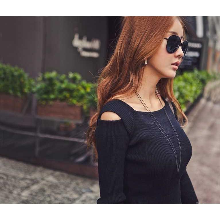 Korean Fashion Women Dress Open Shoulder Square Neck Long Sleeve Sexy Slim Party Mini Dress (Black)