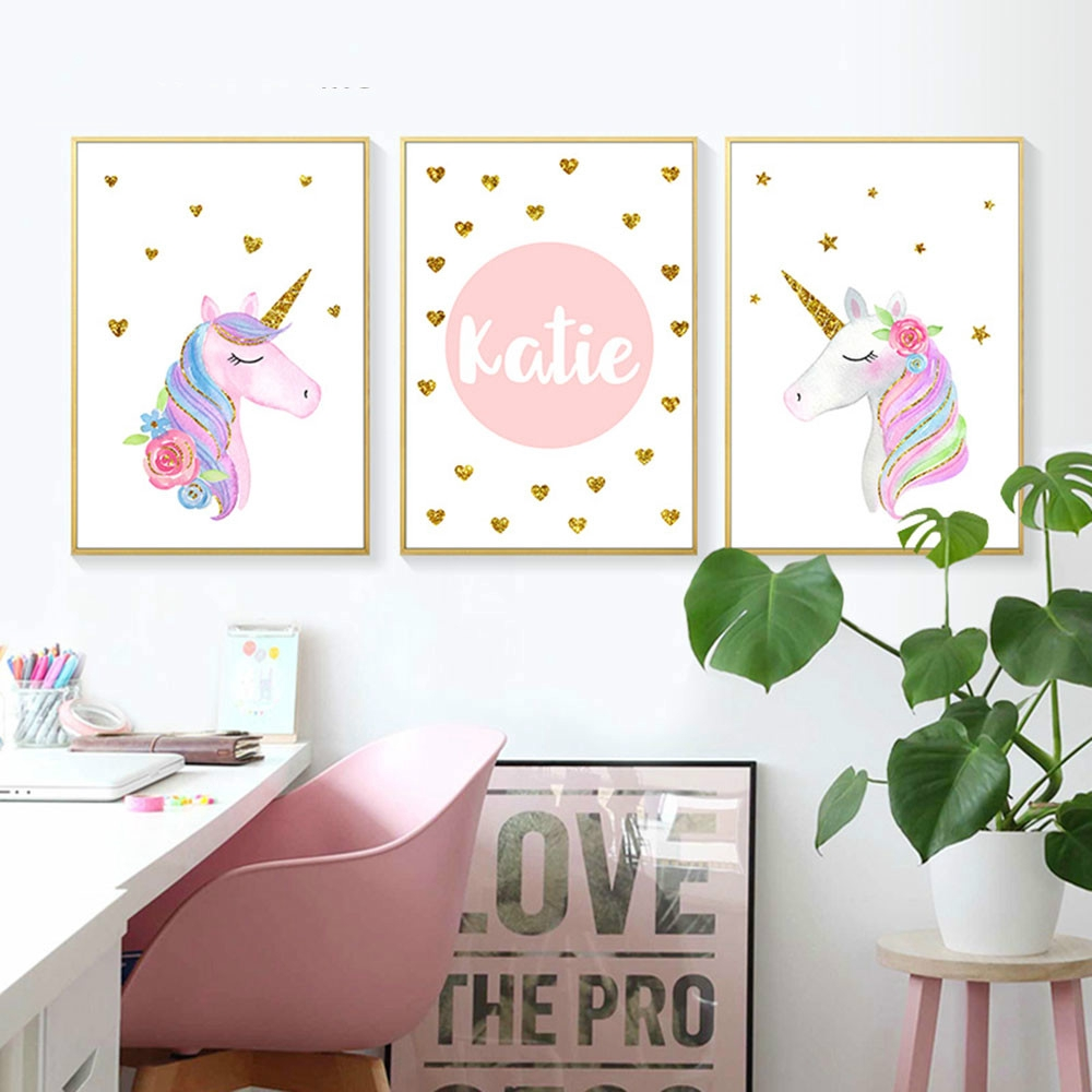 Prints Unicorn Nursery Wall Art Canvas