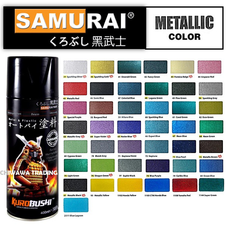 Samurai 52 400mL Metallic Colours High Gloss Clear Coat Tone Aerosol Spray Paint Motor Cat Primer
