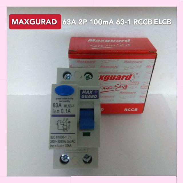 Maxguard 63A 2 Pole 100mA Type AC ELCB RCCB SIRIM Approve