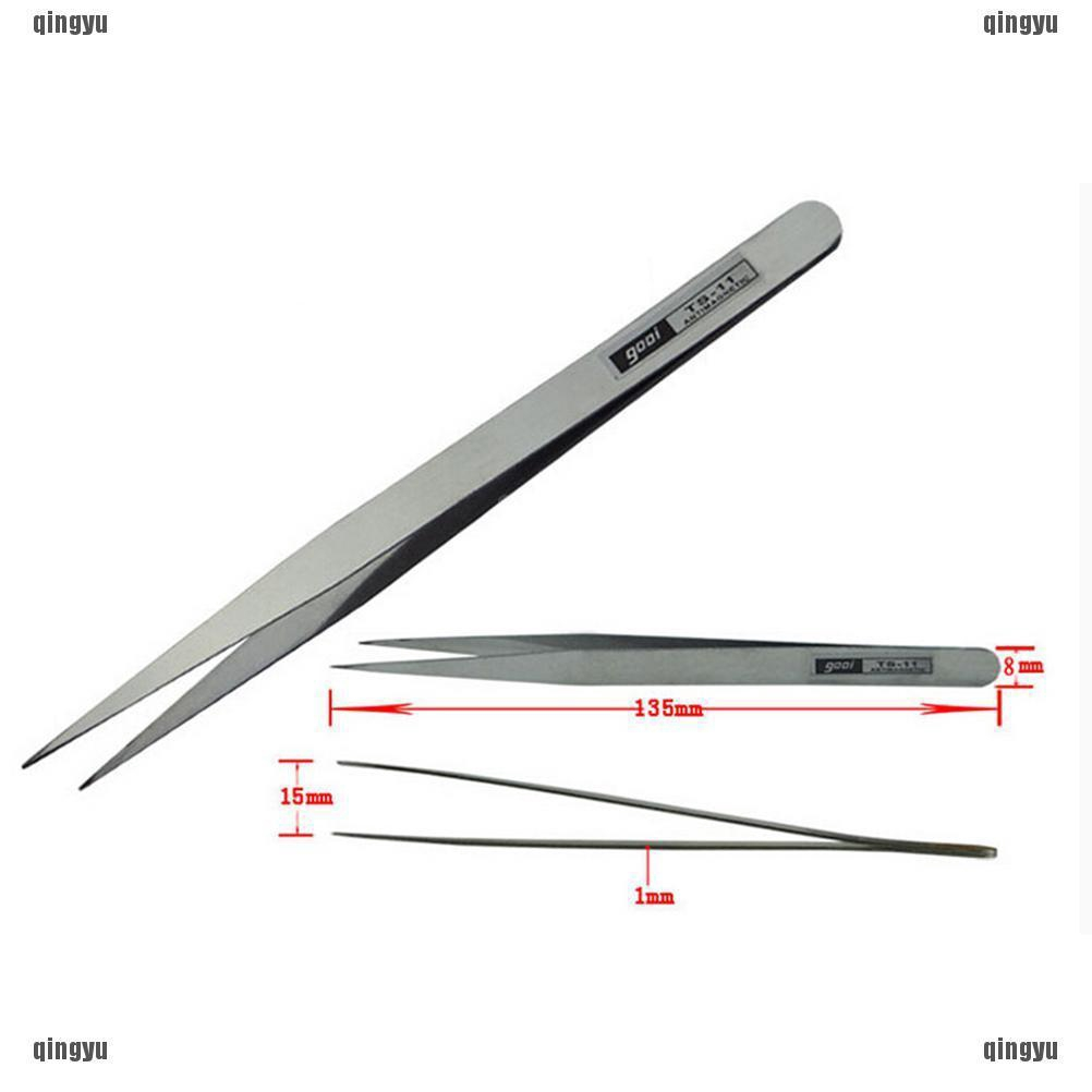 6 PCS Anti Magnetic Stainless Steel Tweezers Forceps Fine Kit Set Jewelers