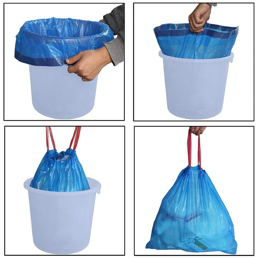 Rubbish Bag With String Home Garbage Bags Office Cleaning Trash Rope Others Plastik Beg Sampah Random Colour 45cm x 50cm