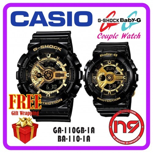 501729d5d2be Casio GA-110GB-1A   BA-110-1A Couple Watch G-Shock Baby-G Watches Black  Gold Jam