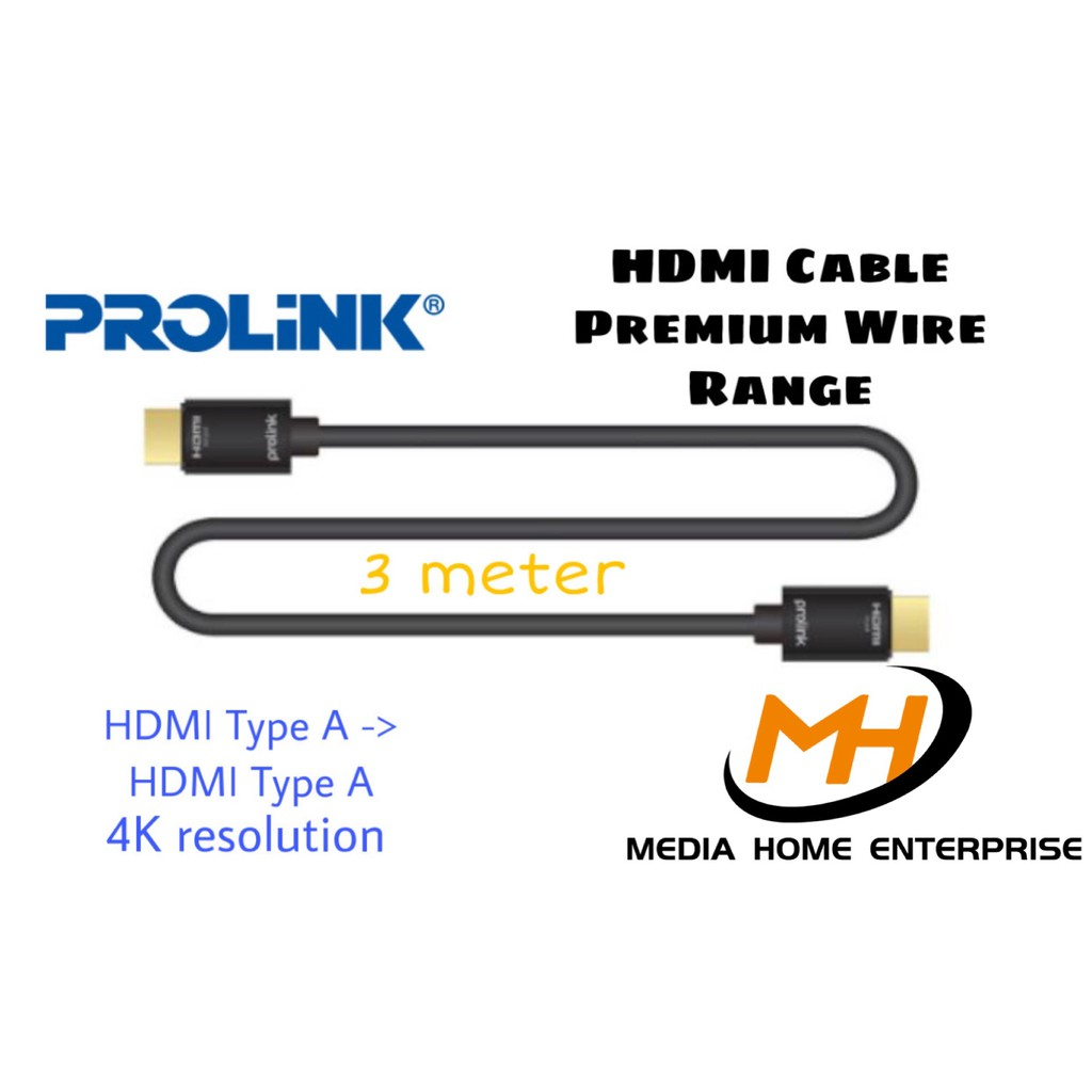 Prolink HDMI Cable Premium Wire Range 4K Resolution - HDMI Type A -> HDMI Type A V2.0, 24k gold