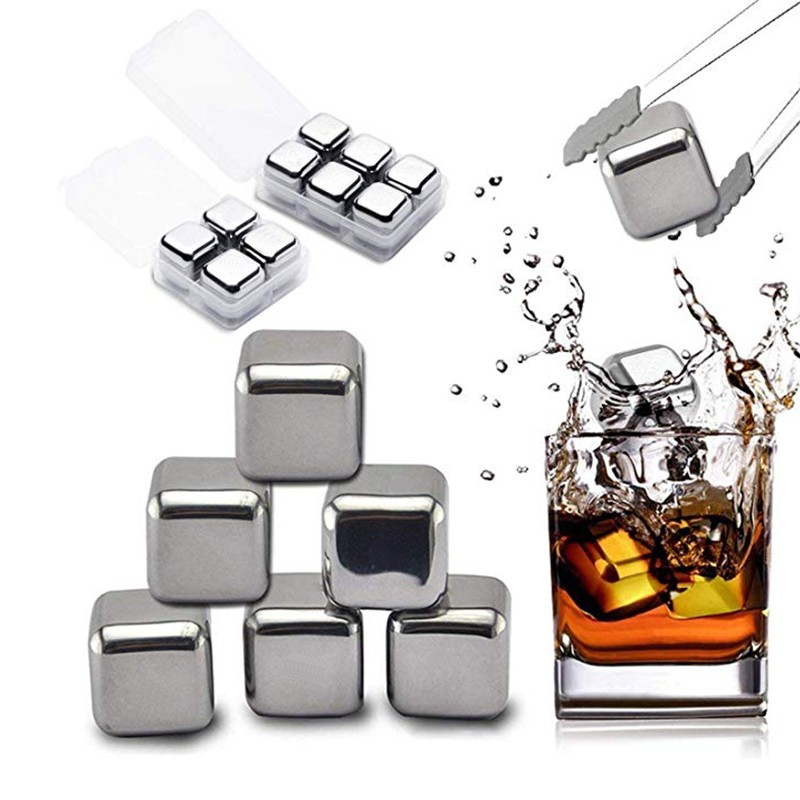 1-9 pc Gray Whisky Stones Chilling Cooling Cold Cool Wine Rocks Ice Cubes Pouch