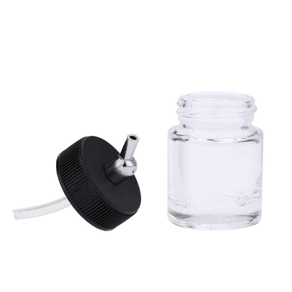 ABEST New 10PCS Airbrush Air Brush Glass Bottle Jar 22CC Standard Suction Lid