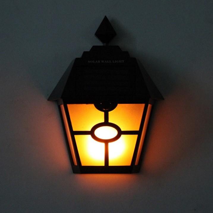 [ READY STOCK ]  Solar Powered Outdoor Waterproof Wall Light Euro Flame Light Lamp Pelita Lampu Bulb Jualan Murah Flash