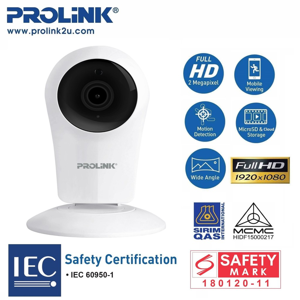 PROLiNK SmartCam Lite 1080p Full-HD Wireless IP Camera Smart Home Ready PIC3005WN