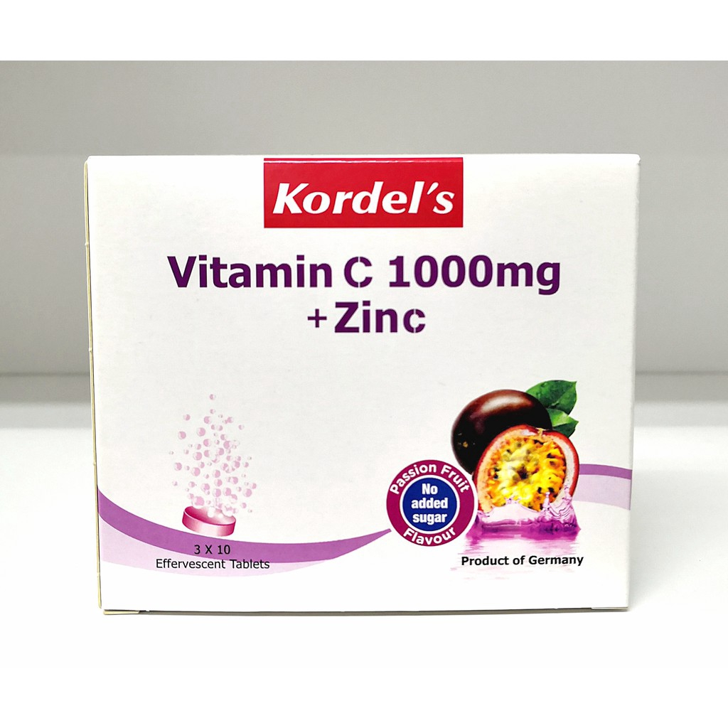 Kordel's Vitamin C 1000mg + Zinc Passion Fruit Flavour 3 x 10's