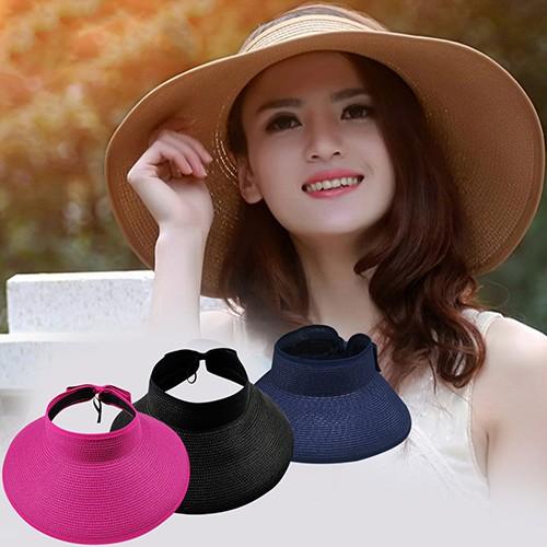 9fa230b0346 Ladies Women Summer Sun Beach Folding Roll Up Wide Brim Straw Visor Hat Cap