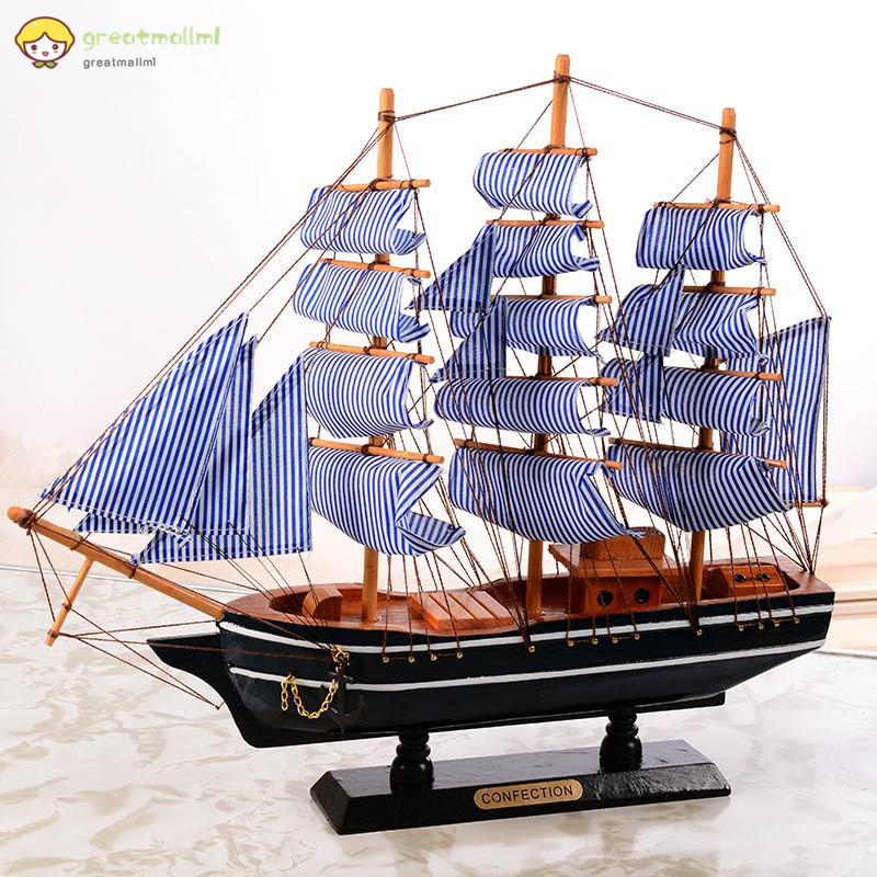 d037ed99e6a0 ✨GM💕Wooden Sailing Ship Mediterranean Style Home Decoration Handmade  Carved Nautical Boat Model Gift