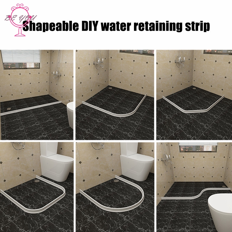 Waterproof Water Flow Block Seal Strip Home Water Retention System Bathroom Kitchen Self-Adhesive Bendable Silicone Bath Shower Barrier Retainer Collapsible Threshold Water Dam
