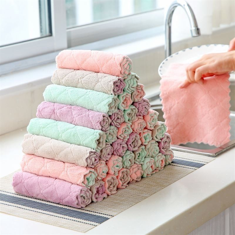 Super Absorbent Microfiber Kitchen Dish Cloth Household Cleaning