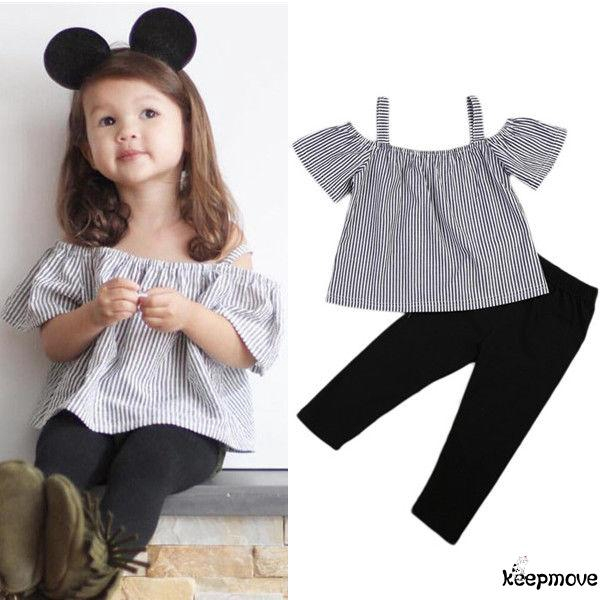 MV New Summer Cropped Trousers Trend Girls Children Striped Wide Leg Pants Suit
