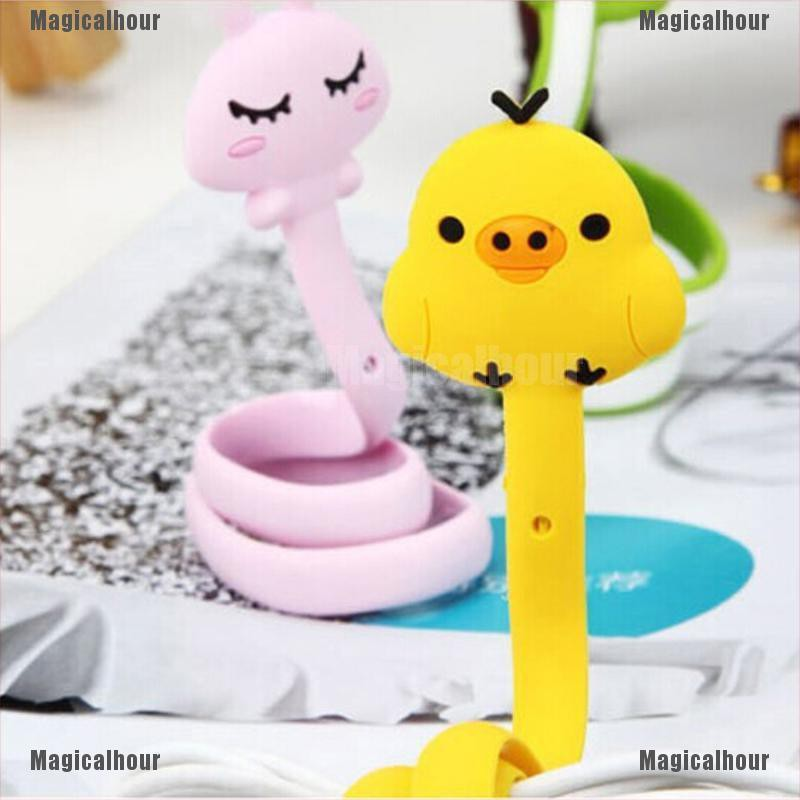 2X Kawaii Cartoon Animal Earphone-Wrap Cord Wire Earbud Cable Ties Holder Winder