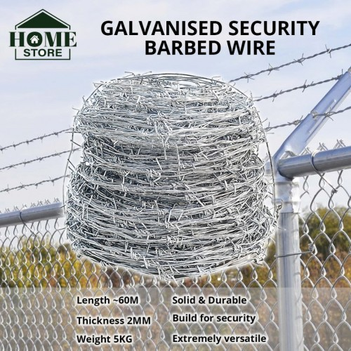 [Ready Stock] Home Store Galvanized Security Barbed Wire 5KG / Dawai Kawat Duri Pagar Rumah 2MM (T) x 60M (L)