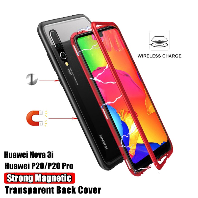 big sale 7b2ce 2b866 Casing Huawei P20 Pro Nova 3i Nova 4 Magnetic Tempered Glass Metal Frame  Cover