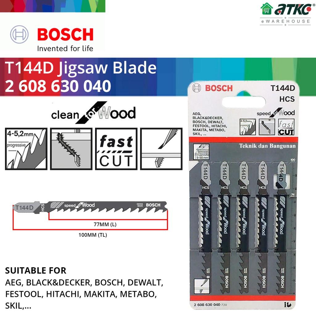 BOSCH T144D Jigsaw Blade For Wood x 5PCS (2608630040)