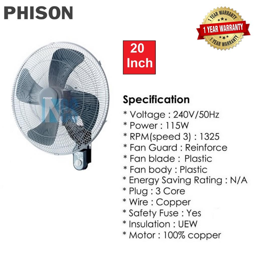 "Phison Electric Wall Fan - 20"" (PWF-920P)"