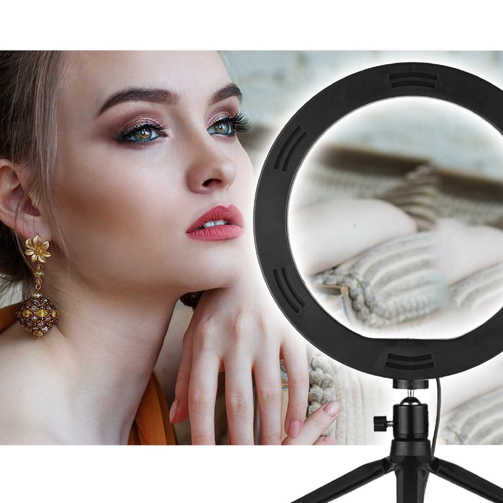 Andoer 10 Inch LED Ring Light Photography Fill-in Lamp 3 Lighting Modes Dimmable USB Powered with Phone Holder Ballhead
