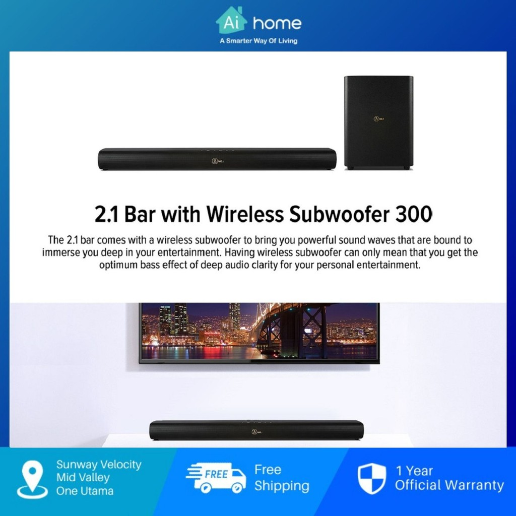 A&S Soundbar 2.1 Channel with Wireless Subwoofer 300 - Strong Stereo Strength | Wireless Subwoofer | Bluetooth [Aihome]