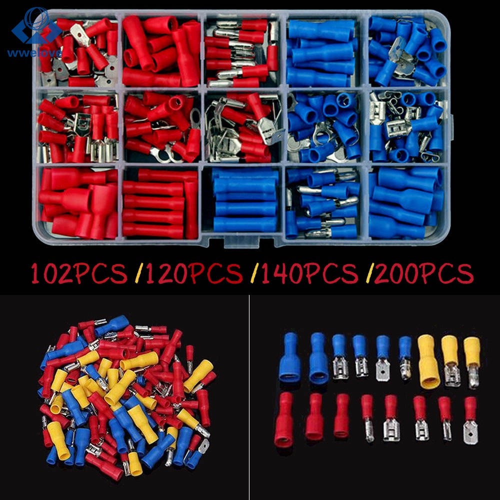 200pcs Blue Insulated Spade Electrical Crimp Wire Cable Connector Terminal Kit