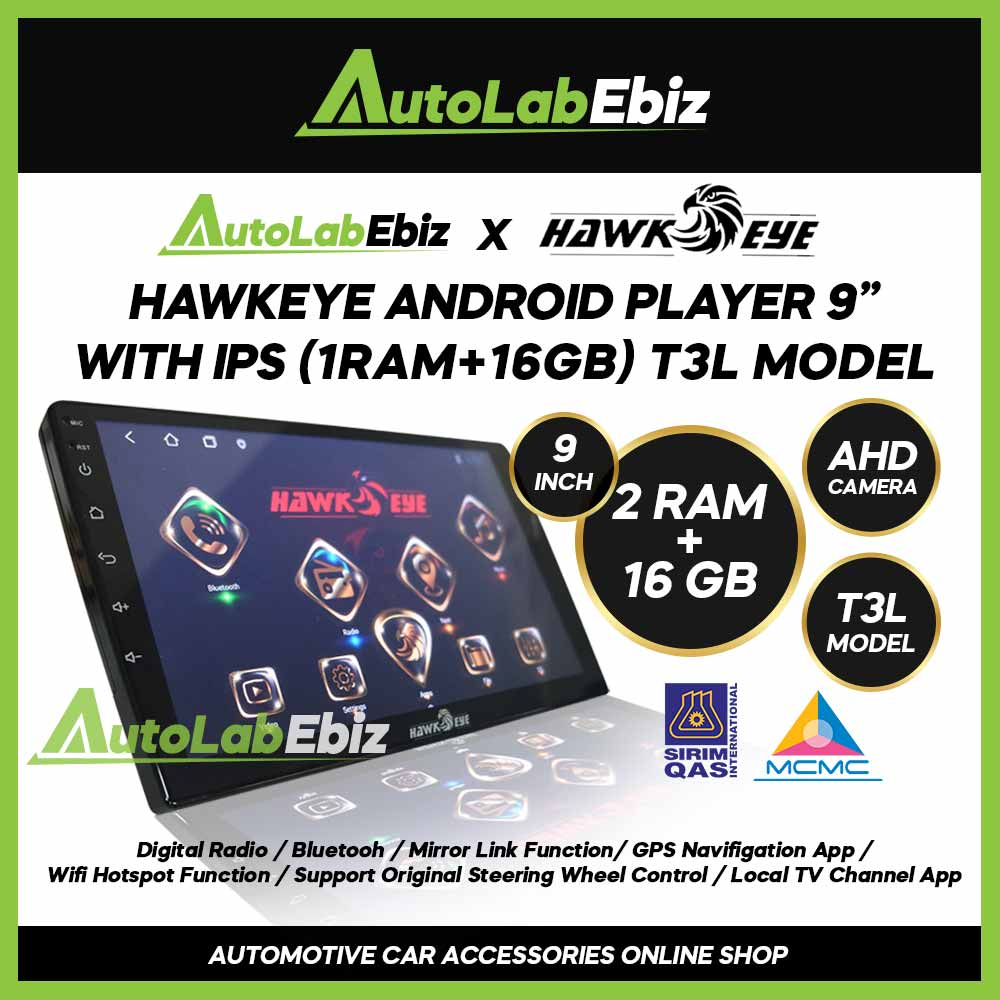 HawkEye Big Screen Android Player 9 inch (2RAM+16GB) with IPS/AHD/T3L