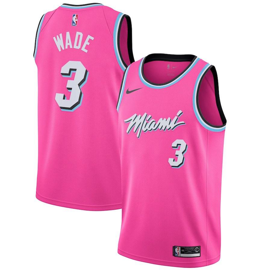 Jersey Men S Nba Miami Heat Basketball Clothes Num 3 Dwyane Wade Authentic Shopee Malaysia