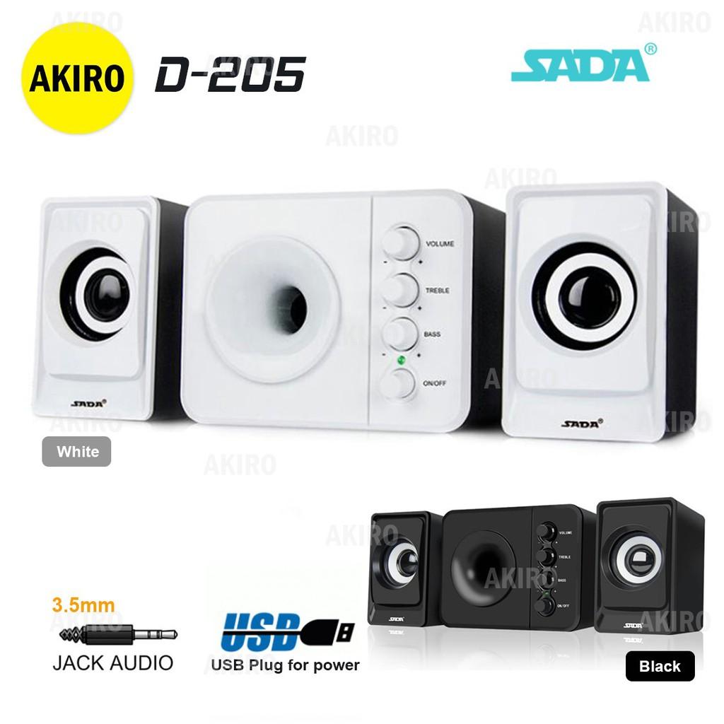 AKIRO SADA D-205 Wooden Speaker Home PC USB Desk Stereo Heavy Bass 3D  Subwoofer