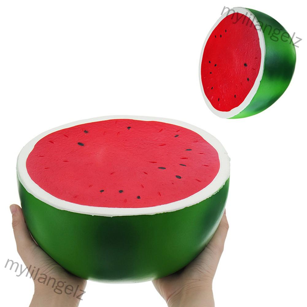 Mylilangelz 25cm Super Large Squishy Half Watermelon Shape Slow Rising Toy Children/Adult Fruit Shape Vent Soft PU Squee