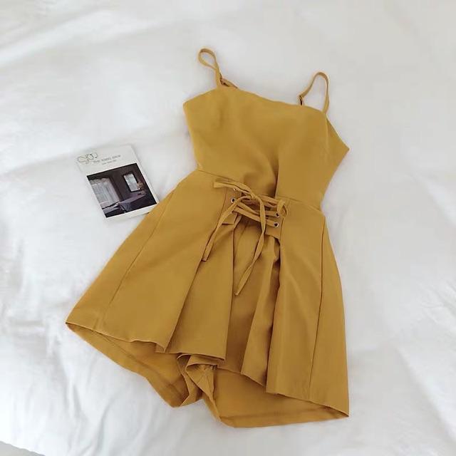 [Free Size] Korean Fashion Slim Jumpsuits 夏季韩版时尚气质纯色抹胸吊带裙裤显瘦收腰系带连体裤短裤