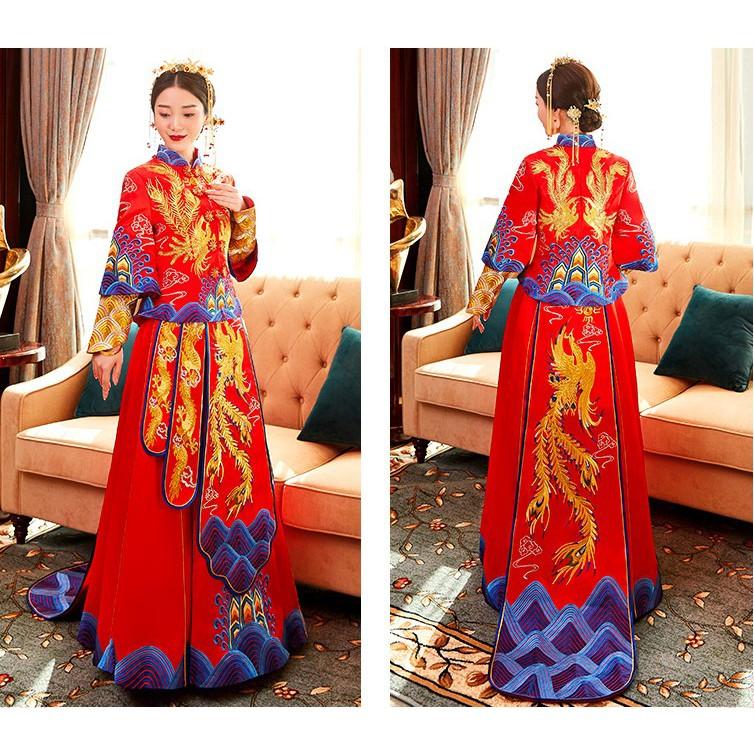 54f6838e5 BEAUNIQUE Gold Silver Embroider Dragon & Phoenix Two-Piece Qun Kwa New  Design | Shopee Malaysia