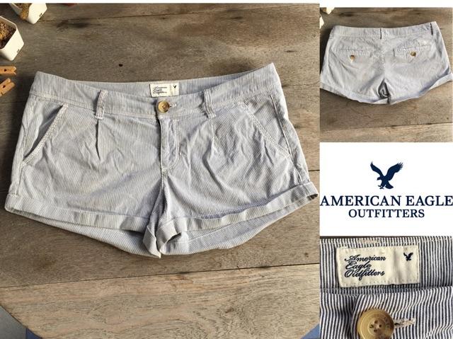 2sis1bro แบรนด์แท้ American Eagle Outfitters  กางเกงขาสั้น ลายทาง มือสอง พร้อมส่ง