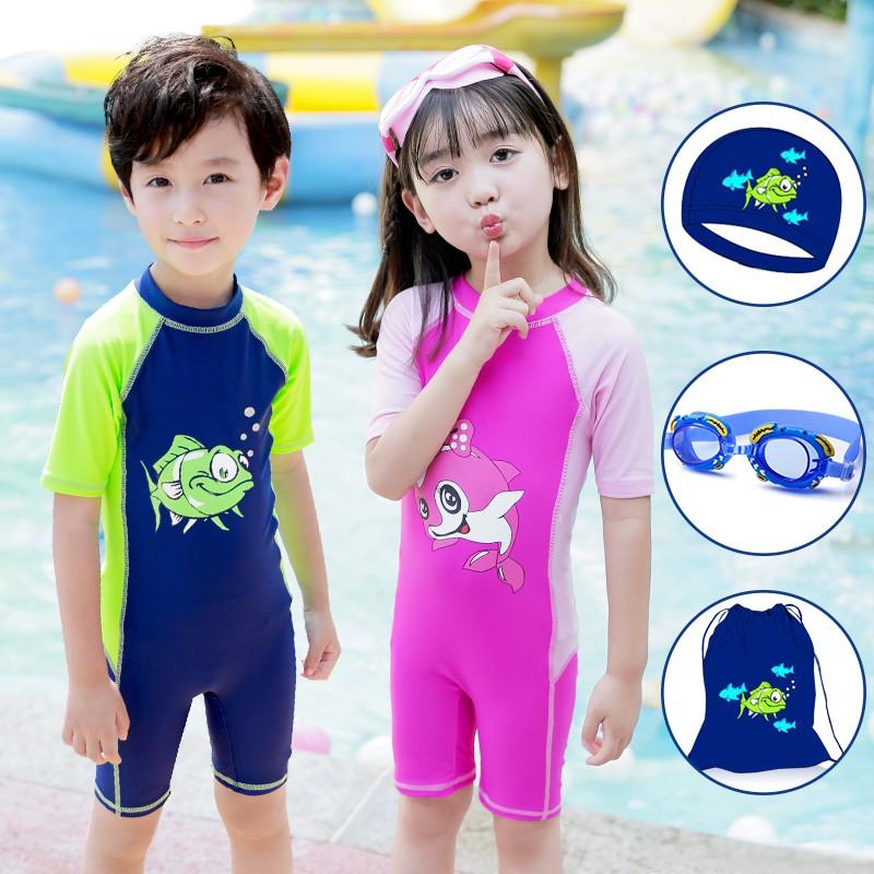 acbb3a699f Baby Kids Swimsuit Shirt Trunks Swimwear Boys 2-12Y Child Bathing Swimming  Suit   Shopee Malaysia