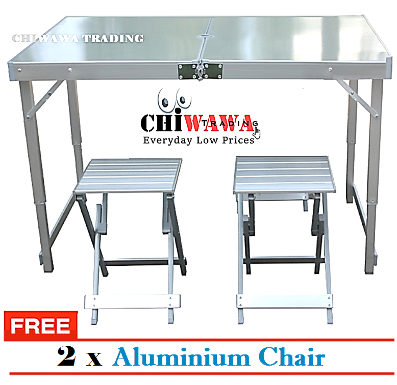 【Free Gift: 2 x Chair】Aluminium Foldable Picnic Table Easy Carry Camping Table / Meja Lipat