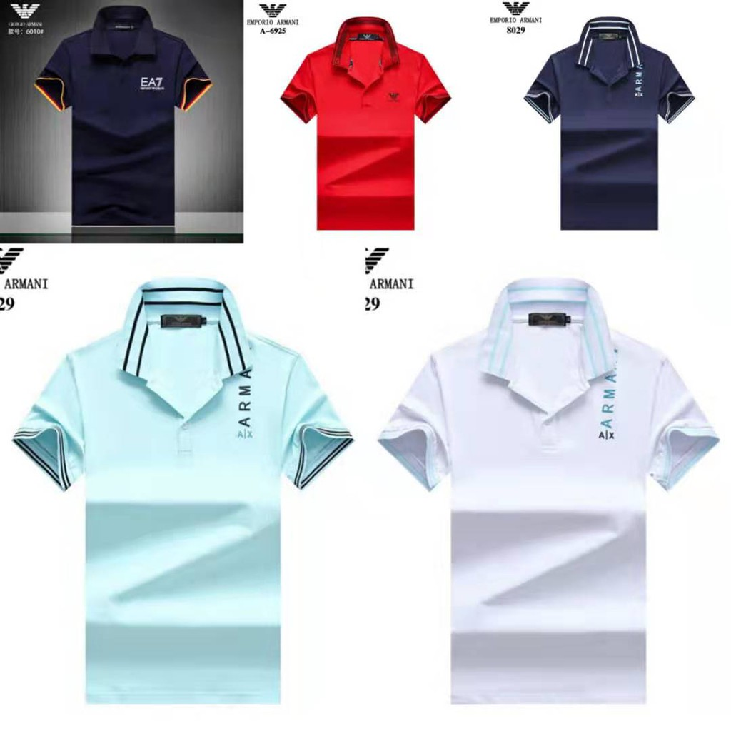 2019 New Men/'s EA7 Logo Polo Shirt Short Sleeve Business Casual Solid Branded