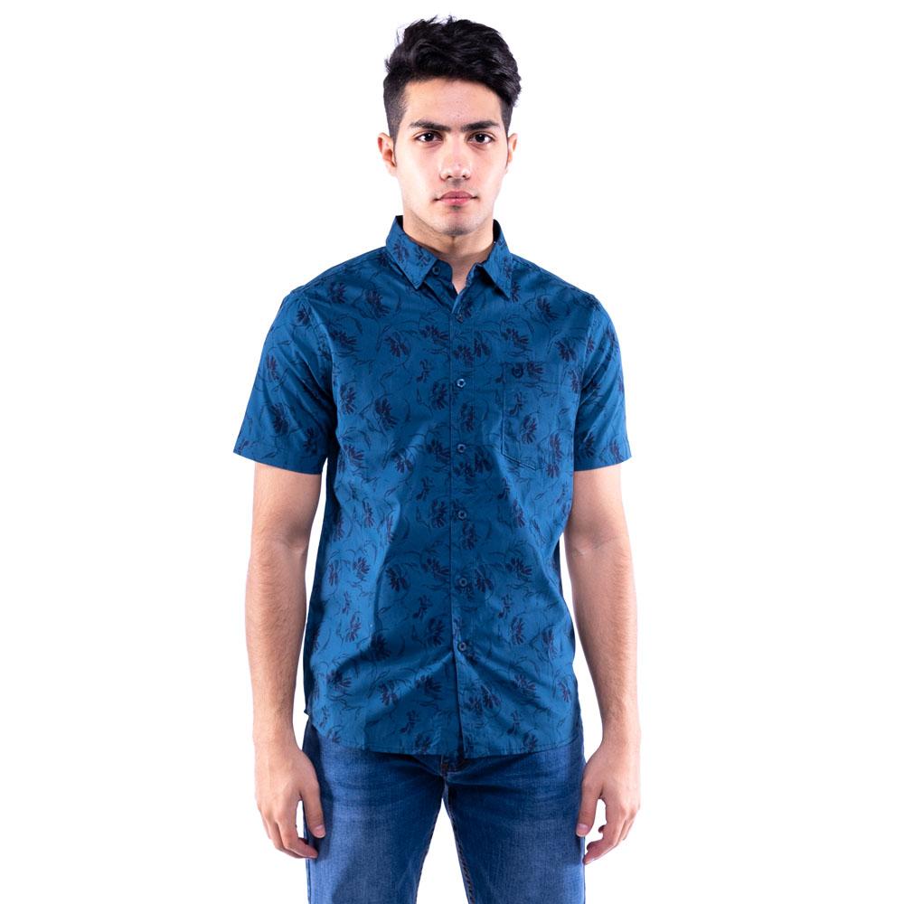 Rav Design 100% Cotton Woven Shirt Short Sleeve Blue |RSS31443201