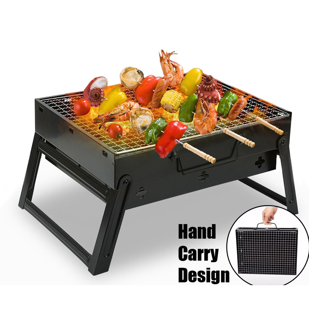 Mini Outdoor Portable Folding BBQ Charcoal Grill Picnic Barbecue Party Kit [35cm x 27cm]