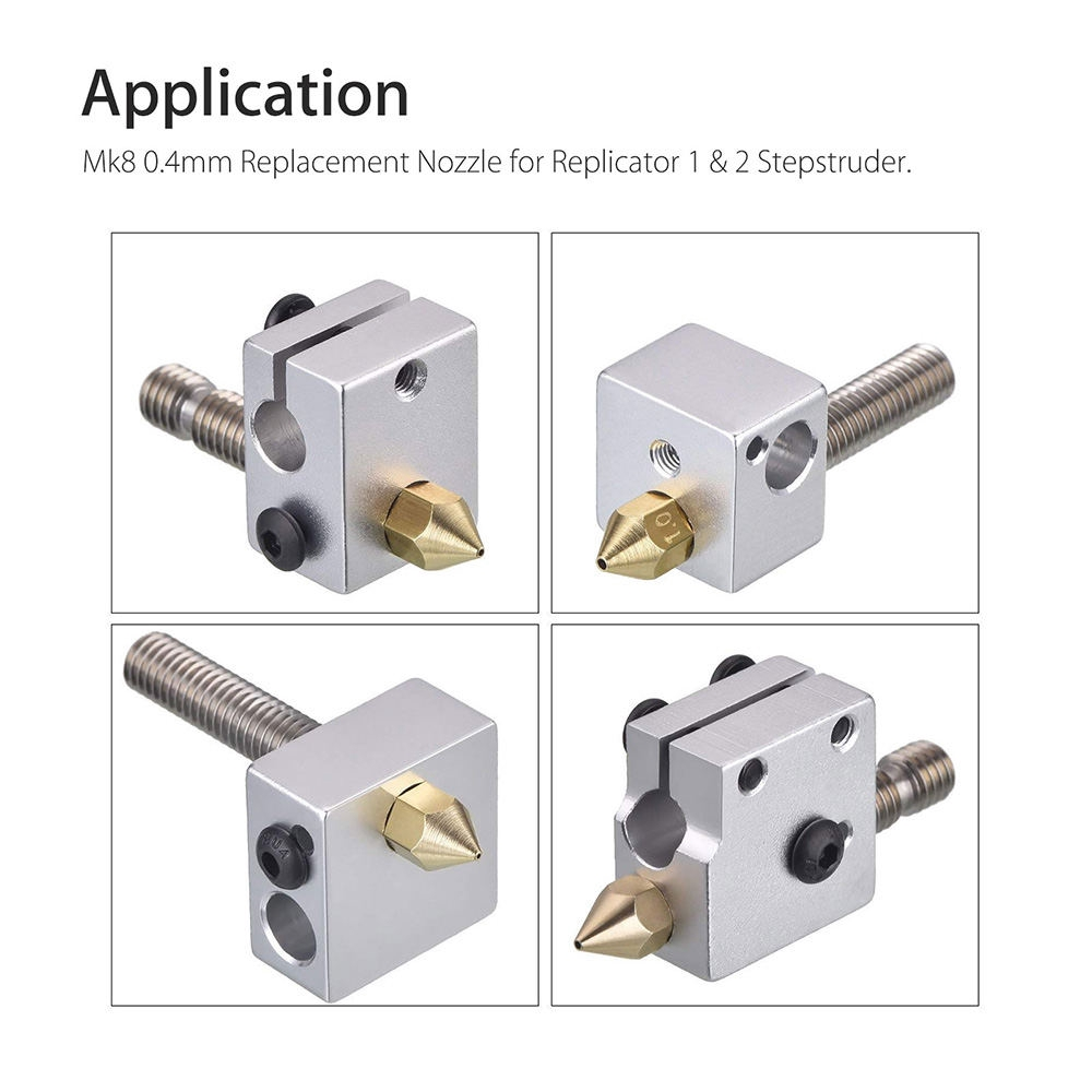 10Pcs 0.3//0.4//0.5//0.6mm Brass MK8 Extruder Nozzle For Creality CR-10 3D Printer
