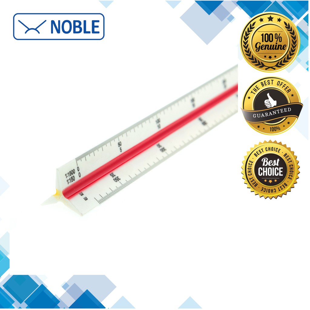 """30cm 12/"""" NOBLE Plastic Triangular Scale Ruler for engineer//architect//student"""
