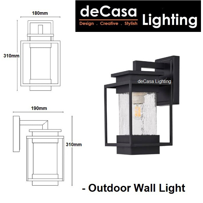 DECASA LIGHTING Set With 12w Led Bulb New Design Outdoor Wall Light E27 Glass Outdoor Wall Lamp Lampu Dinding (2365-W)