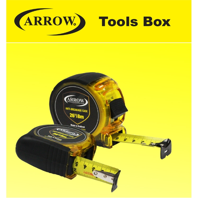ARROW A 9080 HIGH QUALITY TAPE MEASURE 8M/26FT ANTI-BREAKAGE HEAVY DUTY MEASURING TAPE ASY USE SAFETY GOOD QUALITY