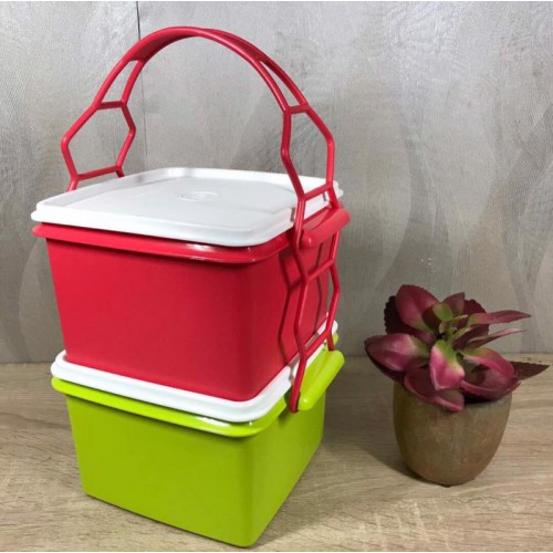 TUPPERWARE | Double Deep Green+Red with Cariolier 1.7L