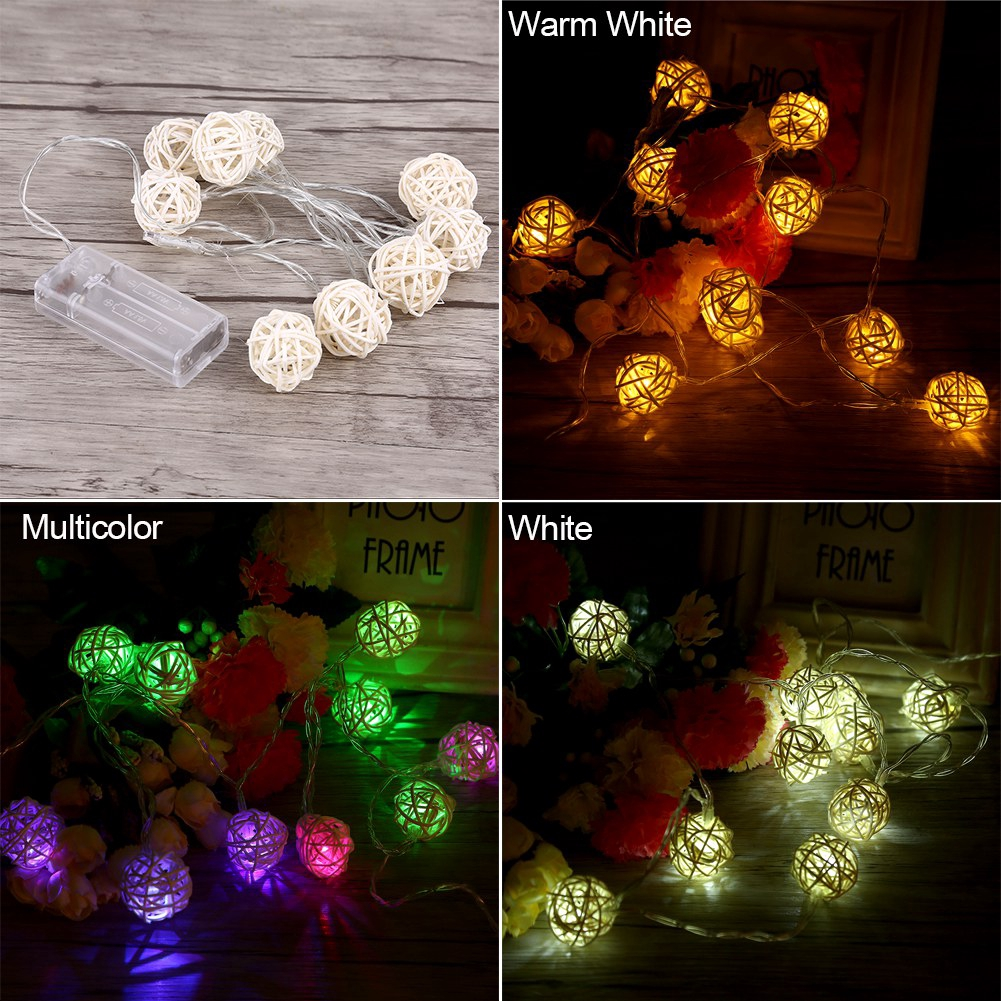 In Workmanship Objective 20 White Green Rattan Balls Led Christmas Outdoor String Lights Wedding Fairy Holiday Garden Patio Room Decorative Garland Light Exquisite