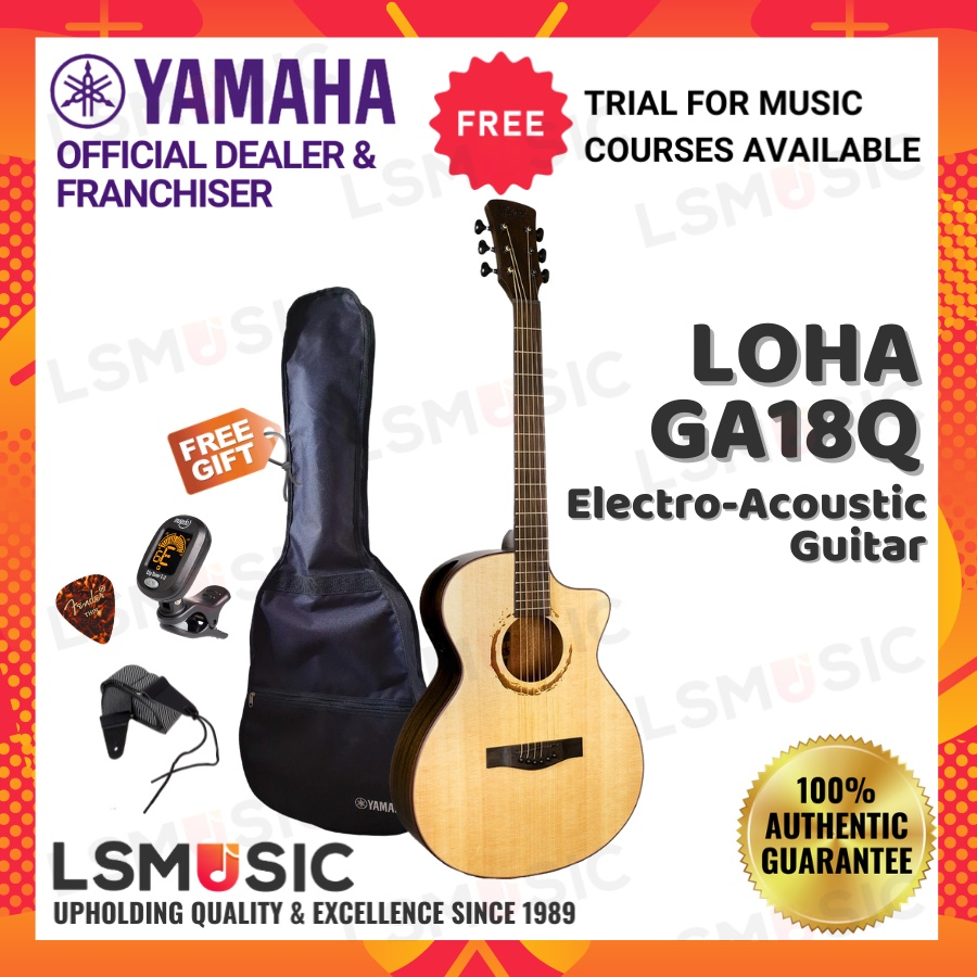 Loha GA18Q Electro Acoustic Guitar 39 inch Cut Away Full Package with Guitar Bag Guitar Pick Guitar Strap Tuner