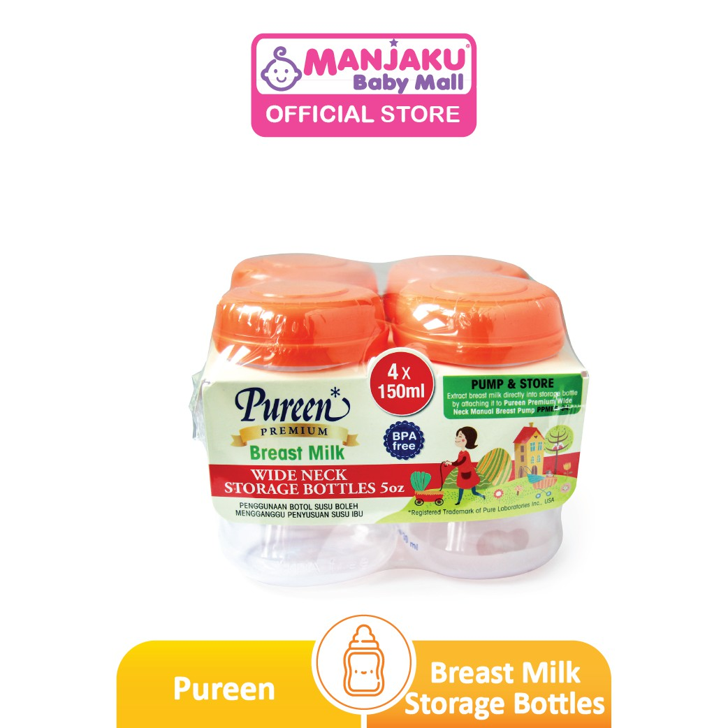 Pureen Wide Neck Milk Storage Bottles - 4 x 5oz (4 x 150ml) - Assorted