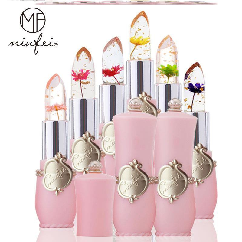 MINFEI DRY FLOWER LIPSTICK CRYSTAL JELLY MAGIC TEMPERATURE COLOR CHANGING LIP BALM MOISTURE LONG LASTING BEAUTIFY