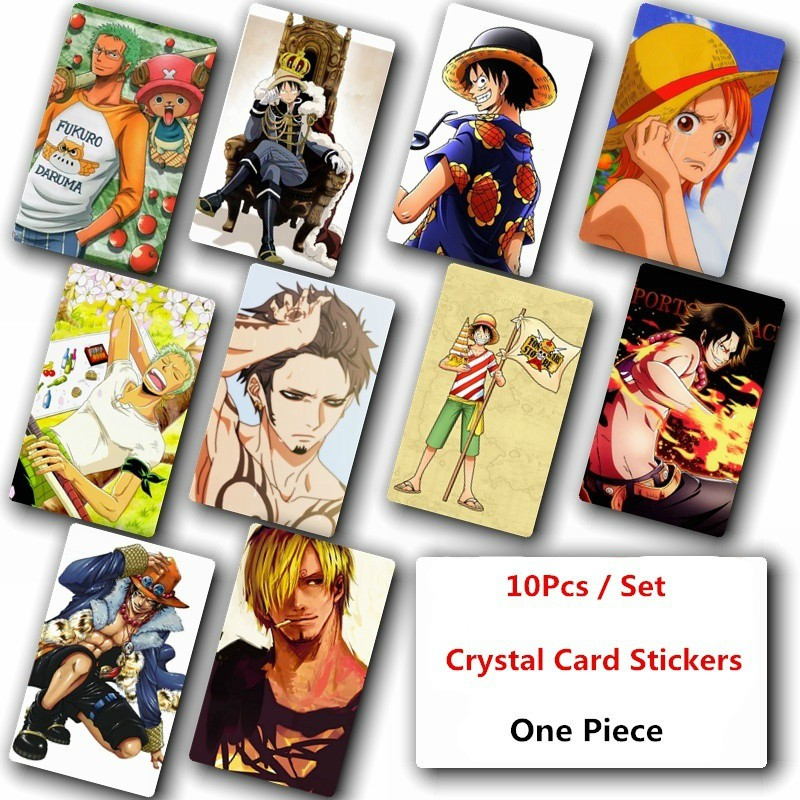 10Pcs/Set Japanese Anime One Piece Poster Photo Crystal Card Stickers 014